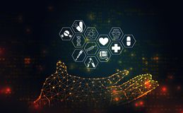 Η αφηρημένη υγεία επιστήμης ιατρική αποτελείται εικονίδιο χεριών wireframe θεραπεύει ελεύθερη απεικόνιση δικαιώματος