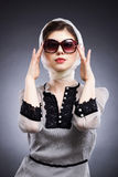 η αφηρημένη όμορφη εικόνα μόδας αυξήθηκε ασημένια χαμογελώντας γυναίκα Στοκ Εικόνες