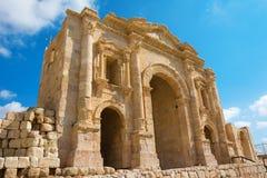Η αψίδα του Αδριανού σε Jersah στην Ιορδανία Στοκ Εικόνες