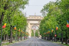 Η αψίδα Triumph Arcul de Triumf από το Βουκουρέστι Ρουμανία Στοκ Εικόνα