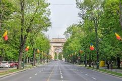 Η αψίδα Triumph Arcul de Triumf από το Βουκουρέστι Ρουμανία Στοκ εικόνα με δικαίωμα ελεύθερης χρήσης