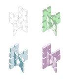η αλλαγή χρωματίζει τον εύκολο eps8 γρίφο κομματιών επαναταξινομώντας το διάνυσμα Στοκ Εικόνες