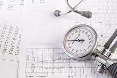 Η αλατισμένη κατανάλωση μπορεί να αυξήσει τη πίεση του αίματος, σωρός του άλατος, μετρητής πίεσης του αίματος στο αρχείο ecg Στοκ Εικόνα