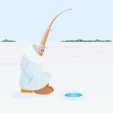 η αλιεία του πάγου βρίσκεται ακριβώς παγιδευμένος χειμώνας zander Διανυσματική απεικόνιση