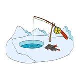 η αλιεία του πάγου βρίσκεται ακριβώς παγιδευμένος χειμώνας zander Hand-drawn διανυσματική απεικόνιση στο άσπρο υπόβαθρο Στοκ Εικόνες