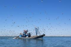 Η αλιεία schooner μπαίνει σε το λιμένα είναι πλήρης της σύλληψης. Στοκ εικόνα με δικαίωμα ελεύθερης χρήσης