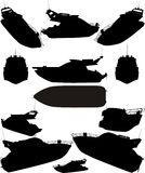 η βάρκα σκιαγραφεί το διανυσματικό γιοτ Στοκ Εικόνες
