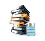 Η βάση δεδομένων υπολογιστών θα αντικαταστήσει τους κλασικούς φακέλλους Στοκ φωτογραφία με δικαίωμα ελεύθερης χρήσης