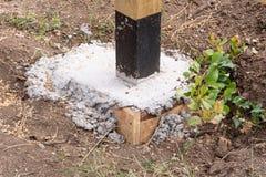 Η βάση του ξύλινου φράκτη Λεπτομέρειες ύφους αγροκτημάτων φρακτών στοκ φωτογραφία με δικαίωμα ελεύθερης χρήσης