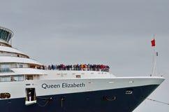 Η βασίλισσα Elizabeth 2 σκάφος της γραμμής κρουαζιέρας φθάνει στη Βενετία Στοκ φωτογραφίες με δικαίωμα ελεύθερης χρήσης