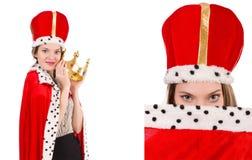 Η βασίλισσα επιχειρηματιών γυναικών που απομονώνεται στο λευκό στοκ εικόνες