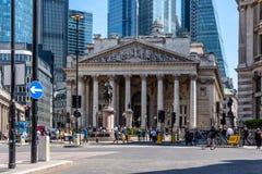 Η βασιλική ανταλλαγή και η Τράπεζα της Αγγλίας στο Λονδίνο στοκ φωτογραφίες