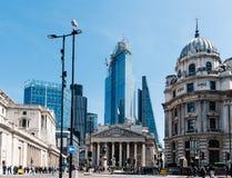 Η βασιλική ανταλλαγή και η Τράπεζα της Αγγλίας στο Λονδίνο στοκ εικόνα
