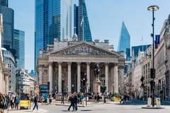 Η βασιλική ανταλλαγή και η Τράπεζα της Αγγλίας στο Λονδίνο στοκ εικόνα με δικαίωμα ελεύθερης χρήσης