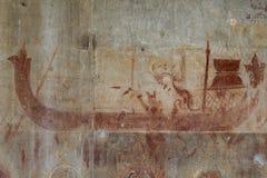 Η βασιλική ochre νωπογραφία βαρκών στο ναό Angkor Wat, Siem συγκεντρώνει, Καμπότζη Αρχαία ochre νωπογραφία στον τοίχο πετρών Στοκ εικόνα με δικαίωμα ελεύθερης χρήσης