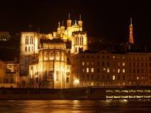 Η βασιλική της Notre Dame de Fourviere και ο καθεδρικός ναός του ST Jean, Στοκ Φωτογραφίες