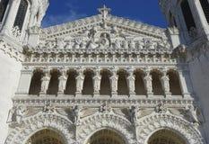 Η βασιλική της Notre-Dame de Fourviere Facade στη Λυών Στοκ Φωτογραφία