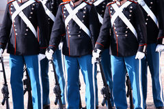 Η βασιλική φρουρά με τα πυροβόλα όπλα στρατού πορεία της Κοπεγχάγης, Δανία Στοκ εικόνα με δικαίωμα ελεύθερης χρήσης