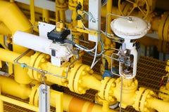 Η βαλβίδα ελέγχου πίεσης στο πετρέλαιο και το φυσικό αέριο επεξεργάζεται και ελεγχόμενος από τον έλεγχο λογικής προγράμματος, τον στοκ εικόνες με δικαίωμα ελεύθερης χρήσης