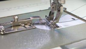 Η βελόνα της ράβοντας μηχανής κινείται γρήγορα πάνω-κάτω διαδικασία τα αγαθά δέρματος Ο ράφτης ράβει το μαύρο δέρμα μέσα στοκ φωτογραφία