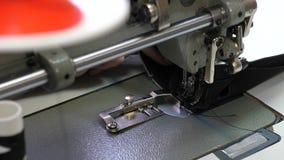 Η βελόνα της ράβοντας μηχανής κινείται γρήγορα πάνω-κάτω διαδικασία τα αγαθά δέρματος Ο ράφτης ράβει το μαύρο δέρμα μέσα στοκ εικόνα
