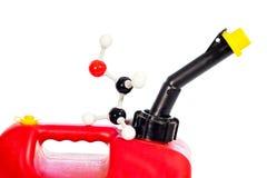Η βενζίνη μπορεί για το μόριο για την αιθανόλη σε το Στοκ Εικόνα