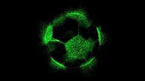 Η βεραμάν σφαίρα ποδοσφαίρου ποδοσφαίρου αποτελείται από τα μικρά μόρια που περιστρέφονται στο μαύρο υπόβαθρο φιλμ μικρού μήκους