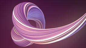 Η βιολέτα χρωμάτισε τη στριμμένη μορφή Ο υπολογιστής παρήγαγε αφηρημένο γεωμετρικό τρισδιάστατο δίνει τη ζωτικότητα βρόχων 4K, υπ απεικόνιση αποθεμάτων