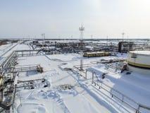 Η βιομηχανική δυνατότητα της εταιρείας πετρελαίου Εξοπλισμός πετρελαιοφόρων περιοχών Βιομηχανική υποδομή πετρελαίου και φυσικού α Στοκ Φωτογραφίες