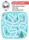 Η βοήθεια Άγιος Βασίλης βρίσκει το χριστουγεννιάτικο δέντρο Παιχνίδι λαβυρίνθου για τα κατσίκια διανυσματική απεικόνιση