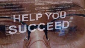 Η βοήθεια εσείς πετυχαίνει το κείμενο στο υπόβαθρο του θηλυκού υπεύθυνου για την ανάπτυξη απόθεμα βίντεο