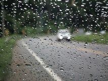 Η βροχή πλημμυρίζει φυσικά στο δρόμο Στοκ Εικόνες