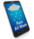 Η βροχή όλη η εβδομάδα σε κινητό παρουσιάζει υγρό άθλιο καιρό Στοκ φωτογραφία με δικαίωμα ελεύθερης χρήσης