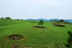 Η βόμβα φτιάχνει κρατήρα από τα γιγαντιαία megalithic δοχεία πετρών πολεμικού πλαισίου του Βιετνάμ στην πεδιάδα της αρχαιολογικής στοκ φωτογραφία με δικαίωμα ελεύθερης χρήσης