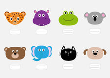 Η γάτα, ιαγουάρος, σκυλί, hippopotamus, ελέφαντας, αντέχει, βάτραχος, koala Ζωικό επικεφαλής πρόσωπο ζωολογικών κήπων Πιάτο κειμέ Στοκ Φωτογραφία