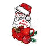 Η γάτα κάθεται σε ένα φλυτζάνι, σε ένα νέο έτος ` s ΚΑΠ και γυαλιά Νέο έτος ` s και Χριστούγεννα Ένα φλυτζάνι, ένα κομμάτι και δι στοκ φωτογραφία