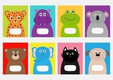 Η γάτα κάλυψης σημειωματάριων, σκυλί, ιαγουάρος, hippopotamus, ελέφαντας, αντέχει, βάτραχος, koala Χαριτωμένος χαρακτήρας κινουμέ Στοκ εικόνες με δικαίωμα ελεύθερης χρήσης