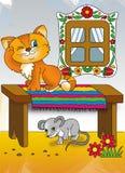 Η γάτα και το ποντίκι Στοκ εικόνα με δικαίωμα ελεύθερης χρήσης