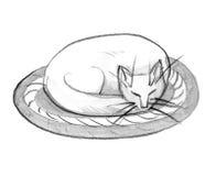 Η γάτα κατσάρωσε επάνω, αφηρημένη απεικόνιση watercolor μελανιού στο άσπρο υπόβαθρο Στοκ φωτογραφία με δικαίωμα ελεύθερης χρήσης