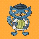 Η γάτα κινούμενων σχεδίων με ένα mustache κρατά ένα καρπούζι Απεικόνιση κινούμενων σχεδίων στο κωμικό καθιερώνον τη μόδα ύφος Ελεύθερη απεικόνιση δικαιώματος