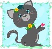 η γάτα πλαισίωσε τις γκρίζ Στοκ φωτογραφία με δικαίωμα ελεύθερης χρήσης