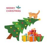 Η γάτα climbes στο χριστουγεννιάτικο δέντρο και κάθεται σε το Επιγραφή χαιρετισμού που διακοσμείται με το γκι ελαιόπρινου Χριστου διανυσματική απεικόνιση