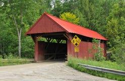 η γέφυρα κάλυψε το κόκκιν&o Στοκ Φωτογραφία