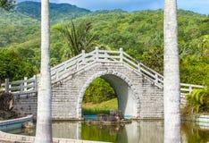 Η γέφυρα πέρα από τη λίμνη στον κινεζικό κήπο Στοκ εικόνα με δικαίωμα ελεύθερης χρήσης