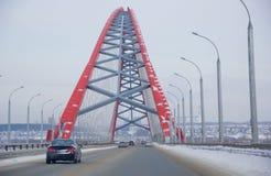 Η γέφυρα πέρα από τον ποταμό Ob στο Novosibirsk στοκ εικόνα