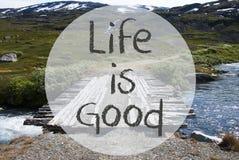 Η γέφυρα στα βουνά της Νορβηγίας, ζωή κειμένων είναι καλή στοκ φωτογραφίες