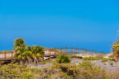 Η γέφυρα στον αμμώδη παράδεισο Playa παραλιών του νησιού Cayo βραδύτατου, Κούβα Διάστημα αντιγράφων για το κείμενο Στοκ φωτογραφία με δικαίωμα ελεύθερης χρήσης