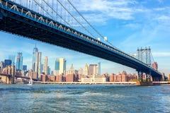 Η γέφυρα του Μανχάταν με το Μανχάταν υπόβαθρο στην ημέρα, πόλη της Νέας Υόρκης, Ηνωμένες Πολιτείες στοκ εικόνες