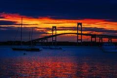 Η γέφυρα του Νιούπορτ στο ηλιοβασίλεμα, Νιούπορτ, RI Στοκ εικόνα με δικαίωμα ελεύθερης χρήσης