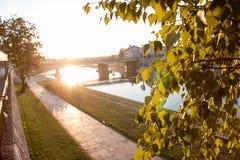 Η γέφυρα του ποταμού Nisava στη μαγική ώρα Στοκ Φωτογραφίες